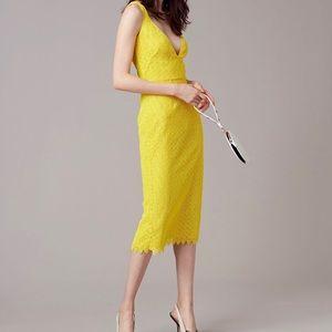 Diane Von Furstenberg yellow crochet lace dress 10